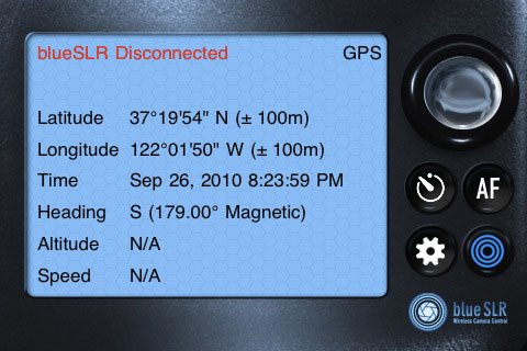 The blueSLR Companion App's status screen. Screenshot provided by XEquals Corp.
