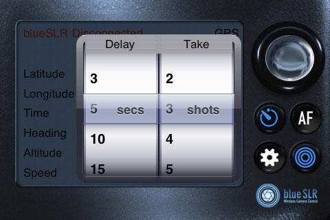 Shutter delay and capture depth in blueSLR's Companion App. Screenshot provided by XEquals Corp.