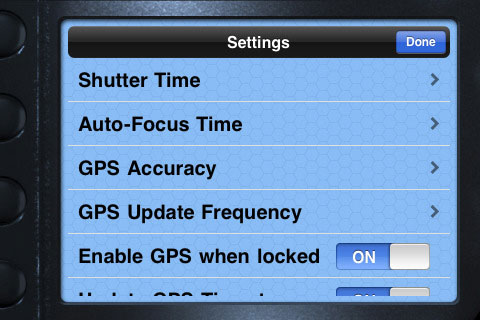 blueSLRs Companion App's settings menu. Screenshot provided by XEquals Corp.
