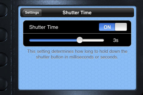 Adjusting shutter speed in blueSLRs Companion App. Screenshot provided by XEquals Corp.