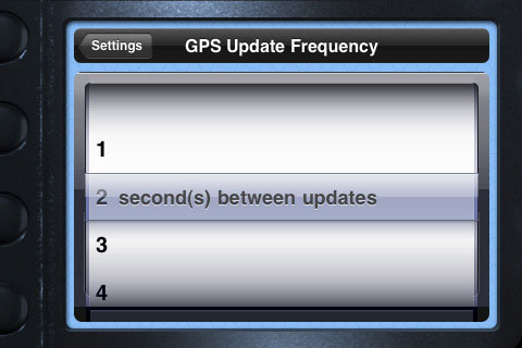 Adjusting the GPS update frequency in blueSLRs Companion App. Screenshot provided by XEquals Corp.
