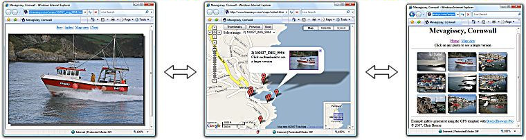 Web gallery linked to Google Maps™. Courtesy of Breeze Systems, with modifications by Michael R. Tomkins.