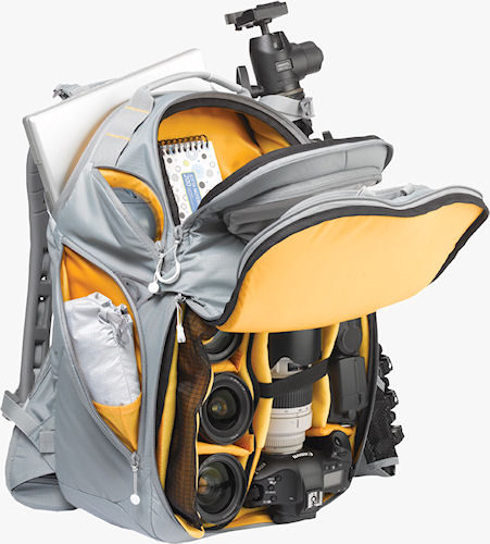 The Bumblebee-backpack, loaded with a Canon DSLR, four lenses, flash strobe, tripod, notebook computer and accessories. Photo provided by Kata Vitec Ltd. Click for a bigger picture!