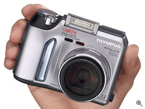 Olympus' Camedia C-730 Ultra Zoom digital camera. Courtesy of Olympus, with modifications by Michael R. Tomkins. Click for a bigger picture!