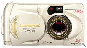 Olympus' C-990ZS digital camera, front view. Courtesy of Olympus Japan. Click for a bigger picture!