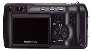 Olympus' C-990ZS digital camera, rear view. Courtesy of Olympus Japan.