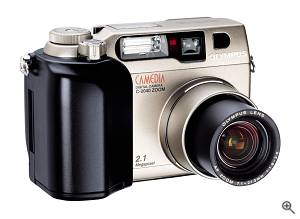 Olympus' C-2040 Zoom digital camera, front right quarter view. Courtesy of Olympus - click for a bigger picture!