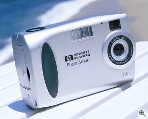 Hewlett-Packard's C215 digital camera, front right quarter view. Courtesy of Hewlett-Packard Co. - click for a bigger picture!