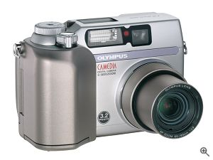 Olympus' Camedia C-3020 Zoom digital camera. Courtesy of Olympus, with modifications by Michael R. Tomkins. Click for a bigger picture!