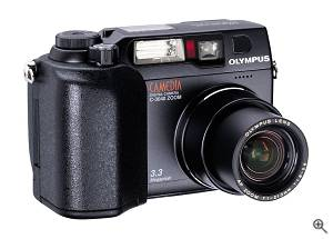 Olympus' C-3040 Zoom digital camera, front right quarter view. Courtesy of Olympus - click for a bigger picture!