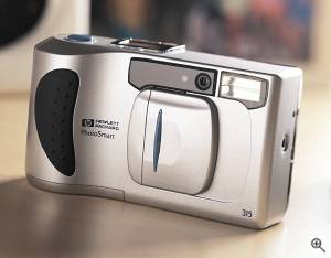 Hewlett-Packard's C315 digital camera, front left quarter view. Courtesy of Hewlett-Packard Co. - click for a bigger picture!