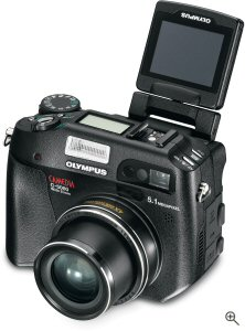 Olympus' C-5060 digital camera. Courtesy of Olympus, with modifications by Michael R. Tomkins. Click for a bigger picture!