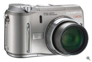 Olympus' C-750 Ultra Zoom digital camera. Courtesy of Olympus, with modifications by Michael R. Tomkins. Click for a bigger picture!