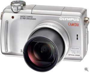 Olympus' Camedia C-760 UltraZoom. Courtesy of Olympus, with modifications by Michael R. Tomkins. Click for a bigger picture!