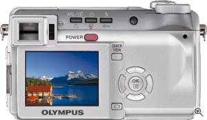 Olympus' C-765 Ultra Zoom digital camera. Courtesy of Olympus, with modifications by Michael R. Tomkins. Click for a bigger picture!