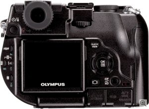 Olympus' Camedia C-8080 Wide Zoom digital camera. Courtesy of Olympus, with modifications by Michael R. Tomkins. Click for a bigger picture!