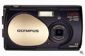 Olympus' Camedia Brio D-100 digital camera, front  view. Courtesy of Olympus. Click for a bigger picture!