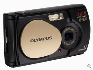 Olympus' Camedia Brio D-100 digital camera, front  right quarter view. Courtesy of Olympus. Click for a bigger picture!