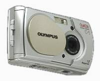 Olympus' Camedia  C-1 digital camera, lower front right quarter view. Courtesy of Olympus Japan.