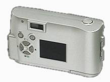 Olympus' Camedia  C-1 digital camera, upper rear right quarter view. Courtesy of Olympus Japan.