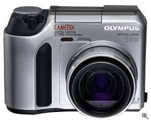 Olympus' Camedia C-700 UltraZoom digital camera,  front view. Courtesy of Olympus. Click for a bigger picture!