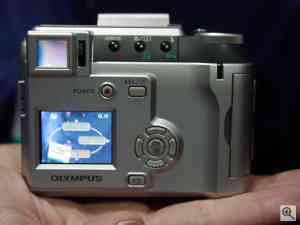 Olympus' Camedia C-700 UltraZoom digital camera,  rear view. Copyright (c) 2001, The Imaging Resource.  All rights reserved. Click for a bigger picture!