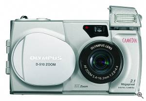 Olympus' Camedia D-510 Zoom digital camera, front view. Courtesy of Olympus. Click for a bigger picture!