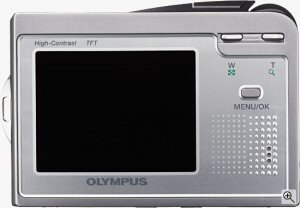 Olympus' Camedia AZ-1 digital camera. Courtesy of Olympus, with modifications by Michael R. Tomkins. Click for a bigger picture!