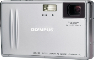 Olympus' Camedia AZ-2 digital camera. Courtesy of Olympus, with modifications by Michael R. Tomkins. Click for a bigger picture!