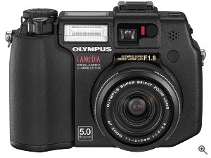 Olympus' Camedia C-5050 Zoom digital camera. Courtesy of Olympus, with modifications by Michael R. Tomkins. Click for a bigger picture