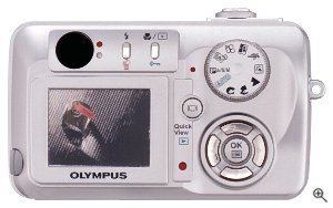 Olympus' Camedia C-50 Zoom digital camera. Courtesy of Olympus, with modifications by Michael R. Tomkins. Click for a bigger picture