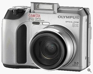 Olympus' Camedia C-720 UltraZoom digital camera. Courtesy of Olympus, with modifications by Michael R. Tomkins.