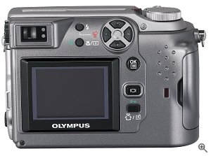 Olympus' Camedia C-4000 Zoom digital camera. Courtesy of Olympus, with modifications by Michael R. Tomkins. Click for a bigger picture!