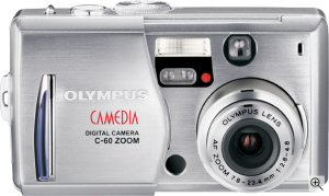 Olympus' Camedia C-60 Zoom digital camera. Courtesy of Olympus, with modifications by Michael R. Tomkins. Click for a bigger picture!