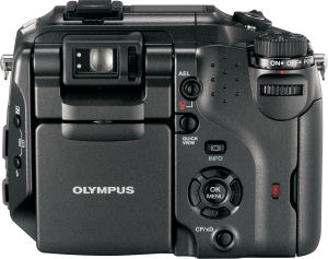 Olympus's Camedia C-7070 Wide Zoom digital camera. Courtesy of Olympus, with modifications by Michael R. Tomkins. Click for a bigger picture!