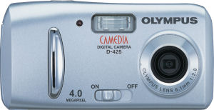 Olympus' Camedia D-425 digital camera. Courtesy of Olympus, with modifications by Michael R. Tomkins. Click for a bigger picture!