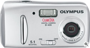 Olympus' Camedia D-435 digital camera. Courtesy of Olympus, with modifications by Michael R. Tomkins. Click for a bigger picture!