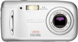 Olympus' Camedia D-545 Zoom digital camera. Courtesy of Olympus, with modifications by Michael R. Tomkins. Click for a bigger picture!