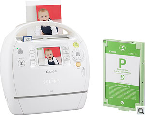 Canon Selphy ES30 printer. Courtesy of Canon, with modifications by Zig Weidelich. Click for a bigger picture!