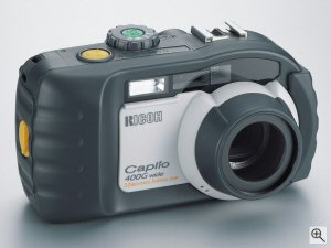 Ricoh's Caplio 400G Wide digital camera. Courtesy of Ricoh, with modifications by Michael R. Tomkins. Click for a bigger picture!