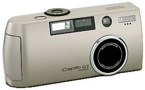 Ricoh's Caplio G3 Model S digital camera. Courtesy of Ricoh, with modifications by Michael R. Tomkins.