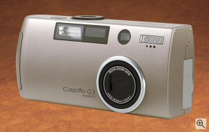 Ricoh's Caplio G3 Model S digital camera. Courtesy of Ricoh, with modifications by Michael R. Tomkins. Click for a bigger picture!