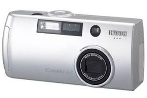 Ricoh's Caplio G3 digital camera. Courtesy of Ricoh, with modifications by Michael R. Tomkins.