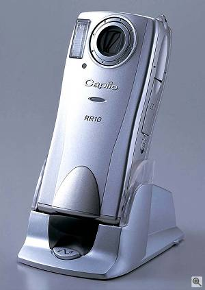 Ricoh's Caplio RR10 digital camera, shown in the included Ricoh BASE docking station. Courtesy of Ricoh DMS Europe B.V. - click for a bigger picture!