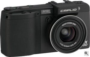 Ricoh's Caplio GX100 digital camera. Courtesy of Ricoh, with modifications by Michael R. Tomkins. Click for a bigger picture!