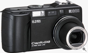 Ricoh's Caplio GX8 digital camera. Courtesy of Ricoh, with modifications by Michael R. Tomkins. Click for a bigger picture!