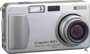 Ricoh's Caplio R2S digital camera. Courtesy of Ricoh, with modifications by Michael R. Tomkins. Click for a bigger picture!