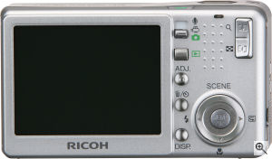Ricoh's Caplio R3 digital camera. Courtesy of Ricoh, with modifications by Michael R. Tomkins. Click for a bigger picture!