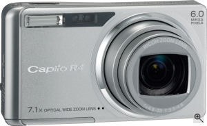 Ricoh's Caplio R4 digital camera. Courtesy of Ricoh, with modifications by Michael R. Tomkins. Click for a bigger picture!