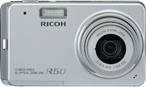 Ricoh's Caplio R50 digital camera. Courtesy of Ricoh, with modifications by Michael R. Tomkins. Click for a bigger picture!